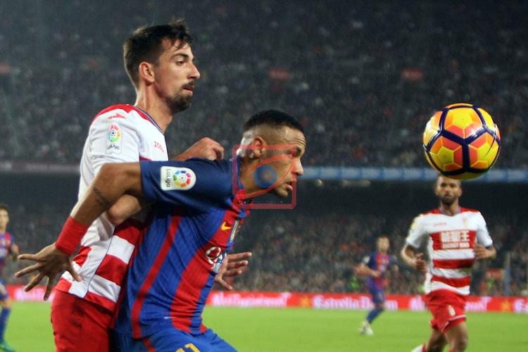 League Santander 2016/2017. Game: 10.<br /> FC Barcelona vs Granada CF: 1-0.<br /> Isaac Cuenca vs Neymar Jr.