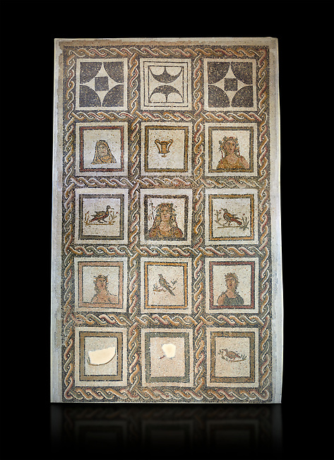 Picture of a Roman mosaics design depicting Dionysus, God of wine, surrounded by women's busts representing the Four Seasons, from the ancient Roman city of Thysdrus. 3rd century AD. El Djem Archaeological Museum, El Djem, Tunisia. Against a blackbackground