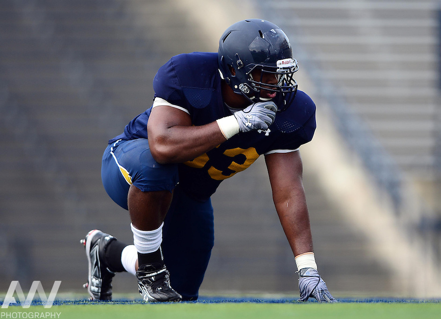 Aug 15, 2012; Toledo, OH, USA; Toledo Rockets defensive lineman Phill Lewis (93) during practice at the Glass Bowl. Mandatory Credit: Andrew Weber-US Presswire