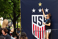 NEW YORK, NEW YORK - JULY 10: Kelley O'Hara #5  poses for a photo  prior to the ticker tape parade for the 2019 FIFA Women's World Cup winning United States women's national soccer team at Canyon of Heroes on July 10, 2019 in New York, United States.