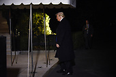 United States President Donald J. Trump arrives back at the White House in Washington, DC, after a rally in Richmond, Kentucky on October 13, 2018.<br /> Credit: Olivier Douliery / Pool via CNP