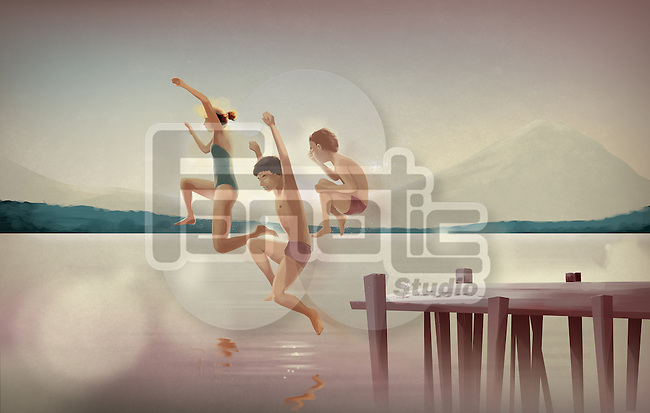 Illustration of siblings diving in lake