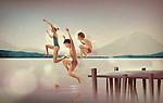 Illustration of siblings diving in lake