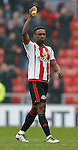 Jermain Defoe of Sunderland acknowledges the fans during the Barclays Premier League match at the Stadium of Light, Sunderland. Photo credit should read: Simon Bellis/Sportimage