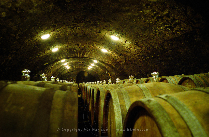 "The Kiralyudvar winery in Tarcal, Tokaj: An underground cellar tunnel with barrels of aging Tokaj wine. Kiralyudvar (meaning ""King's Court"")is run by Istvan Szepsy, considered maybe the best winemaker in Tokaj. he also makes Tokaj under his own name.  Credit Per Karlsson BKWine.com"