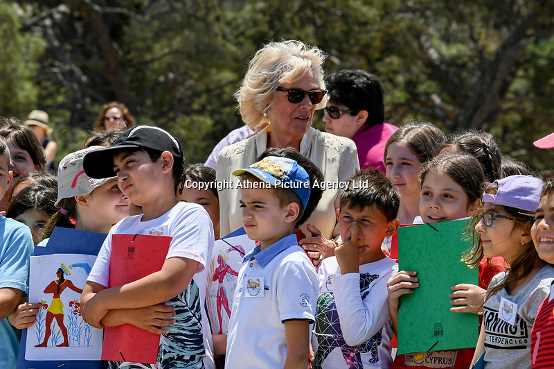 Pictured:The Duchess of Cornwall at Knossos on the island of Crete, Greece. Friday 11 May 2018 <br /> Re:HRH Prnce Charles and his wife the Duchess of Cornwall visit the ancient site of Knossos near Heraklion, Greece.