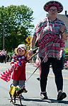 WINSTED,  CT-051819JS12- Heather Allen of Bristol and her son Arthur, walk their 1-year-old Chihuahua Penny, who was dressed as a taco, during the 83rd annual Rotary Club Pet Parade along Main Street in Winsted on Saturday. <br /> Jim Shannon Republican American