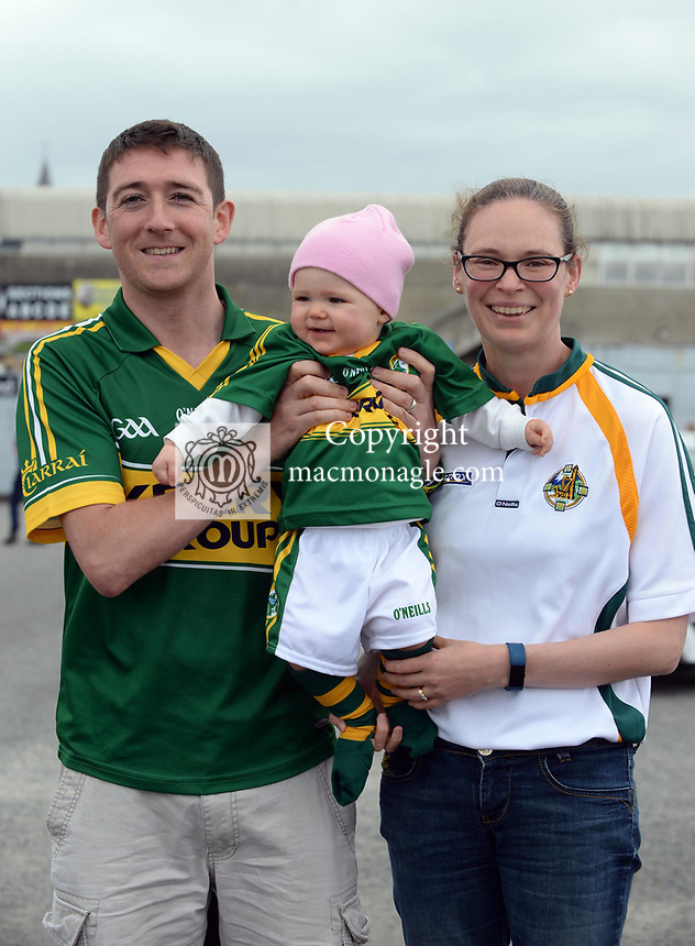 2-7-2017: Paul, Sinead and Eabha Griffin from East Kerry at the Kerry V Cork Munster Football final in Killarney on Sunday.<br /> Photo: Don MacMonagle