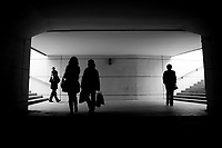 Silhouette of people walking in a Road Underpass in Yinchuan, China.  © LAN