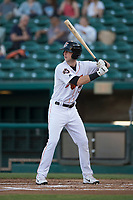 Fresno Grizzlies center fielder Kyle Tucker (32) at bat during a Pacific Coast League game against the Salt Lake Bees at Chukchansi Park on May 14, 2018 in Fresno, California. Fresno defeated Salt Lake 4-3. (Zachary Lucy/Four Seam Images)