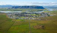 Selfoss séð til norðvesturs, Ölfusá, Ingólfsfjall, Árborg / Selfoss viewing northwest, river Olfusa and mount Ingolfsfjall, Arborg.