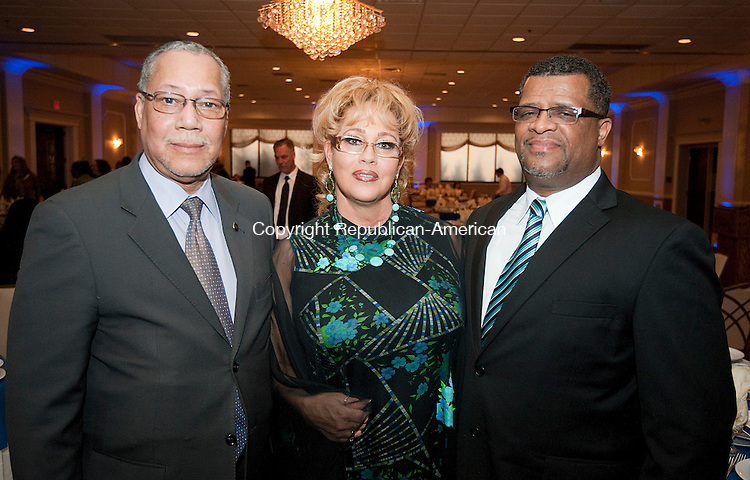 WATERBURY,  CT--- -041416JS15--Reginald Beamon , Sr., Executive Director of Waterbury Opportunities Industrialization Center, Inc., with Ann McConnell and Warren Leach, with the Ungroup Society and recipient of the Community Service Award  at the 16th annual Rivera Memorial Foundation scholarship awards banquet held at La Bella Vista in Waterbury. <br /> Jim Shannon Republican-American