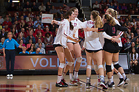 STANFORD, CA - November 15, 2017: Merete Lutz, Audriana Fitzmorris, Meghan McClure, Morgan Hentz, Kathryn Plummer, Jenna Gray at Maples Pavilion. The Stanford Cardinal defeated USC 3-0 to claim the Pac-12 conference title.