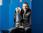 Al Kellock with the Pro12 trophy won by Glasgow Warriors at a press conference at Scotstoun this afternoon. The Captain is now hanging up his boots and retiring from playing rugby