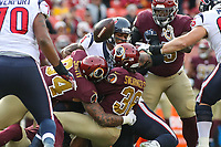 Landover, MD - November 18, 2018: Washington Redskins free safety D.J. Swearinger (36) causes a fumble during the  game between Houston Texans and Washington Redskins at FedEx Field in Landover, MD.   (Photo by Elliott Brown/Media Images International)