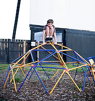 Hunter Kearney enjoys the playground before the movie at Raleigh Road Drive-in in Henderson, NC