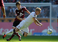 FUSSBALL   1. BUNDESLIGA   SAISON 2011/2012    7. SPIELTAG Borussia Moenchengladbach - 1. FC Nuernberg         24.09.2011 Timm KLOSE (li, Nuernberg) gegen Mike HANKE (re, Moenchengladbach)