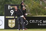 Actor Philip Glenister keeps a close eye on his drive on the 9th as Dougray Scott steps onto the tee.<br /> Celebrity Cup Golf<br /> Celtic Manor Resort<br /> 04.07.14<br /> &copy;Steve Pope-SPORTINGWALES