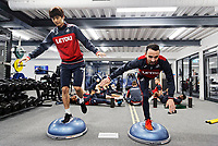 (L-R) Ki Sung-Yueng and Leon Britton exercise in the gym during the Swansea City Training at The Fairwood Training Ground, Swansea, Wales, UK. Thursday 04 January 2018