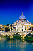 Ponte Sant' Angelo (bridge), St. Peter's Basilica in back, Rome, Italy