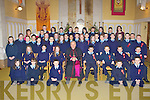 Currow NS fifth and sixth class pupils with Bishop Bill Murphy, their teacher Gobnait Falvey and their Principal Margaret Hannafin after they made their Confirmation in the Prince of Peace church Currow on Tuesday