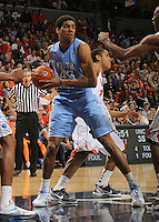 North Carolina Tar Heels forward James Michael McAdoo (43) gets the rebound during the game against Virginia in Charlottesville, Va. North Carolina defeated Virginia 54-51.