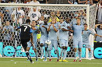 Sporting KC players in the wall  facing shot from Khari Stephenson San Jose Earthquakes forward...Sporting KC defeated San Jose Earthquakes 1-0 at LIVESTRONG Sporting Park, Kansas City ,Kansas,s.