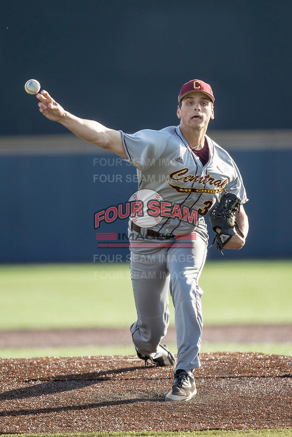 Central Michigan Chippewas pitcher Michael Brettell (34) delivers a pitch to the plate against the Michigan Wolverines on May 9, 2017 at Ray Fisher Stadium in Ann Arbor, Michigan. Michigan defeated Central Michigan 4-2. (Andrew Woolley/Four Seam Images)