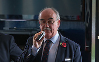 London Scottish President & CEO Rob Lynch speaks during Hospitality during the Greene King IPA Championship match between London Scottish Football Club and Jersey at Richmond Athletic Ground, Richmond, United Kingdom on 7 November 2015. Photo by Andy Rowland.