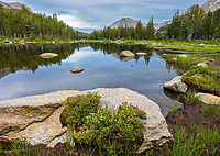 Wind River Range, WY: Calm waters at dusk from Horseshoe Lake; Lizard Head Meadows area; Bridger Wilderness in the Bridger National Forest in summer