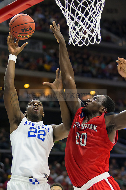 Forward Alex Poythress of the Kentucky Wildcats goes for a layup during the NCAA Tournament first round game against the Stony Brook Seawolves at Wells Fargo Arena on Thursday, March 17, 2016 in Des Moines, Iowa. Photo by Michael Reaves | Staff.