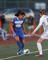 Boston Breakers midfielder Jo Dragotta (25) passes the ball.  In a National Women's Soccer League Elite (NWSL) match, the Boston Breakers (blue) tied Western New York Flash (white), 2-2, at Dilboy Stadium on June 5, 2013.