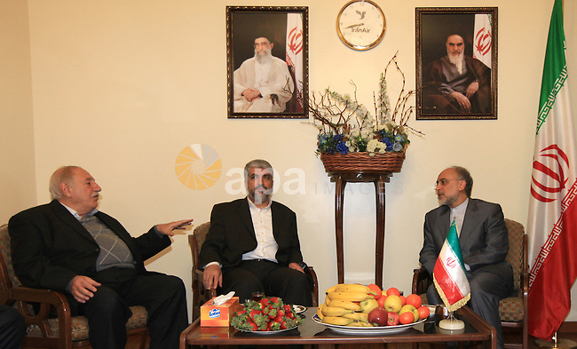 Palestinian Hamas leader Khaled Meshaal , during a meeting with Iranian acting Foreign Minister Ali Akbar Salehi, in Damascus on Jan. 23, 2011. Photo by Majd Majd