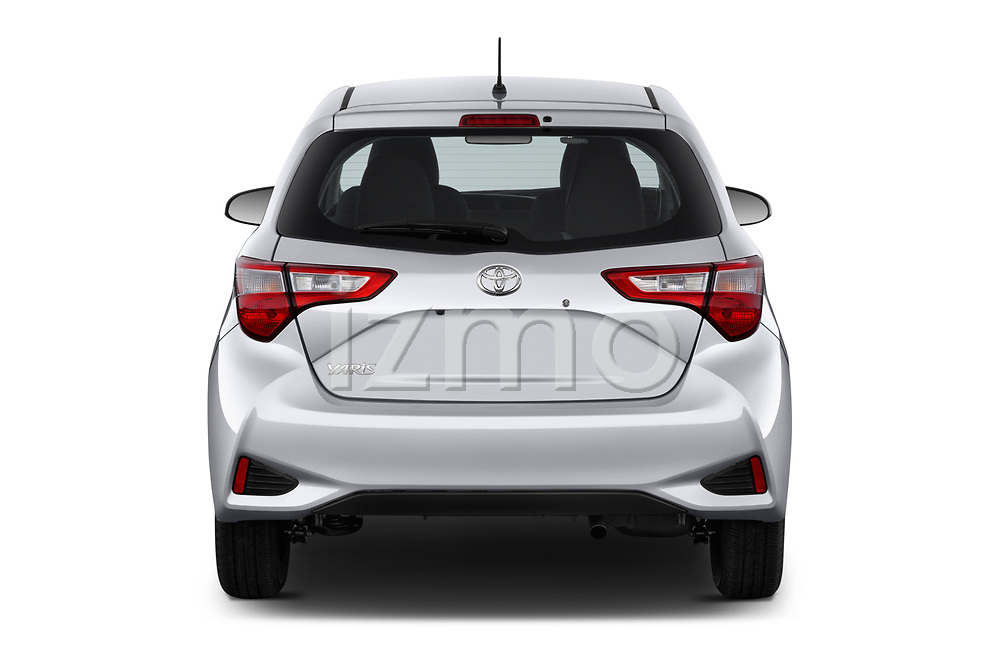 Straight rear view of a 2018 Toyota Yaris L 3-Door Liftback 3 Door Hatchback stock images