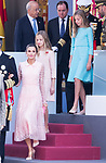 (L to R) Queen Letizia, Princess of Asturias Leonor and Infanta Sofia during the Military parade because of the Spanish National Holiday. October 12, 2019.. (ALTERPHOTOS/ Francis Gonzalez)