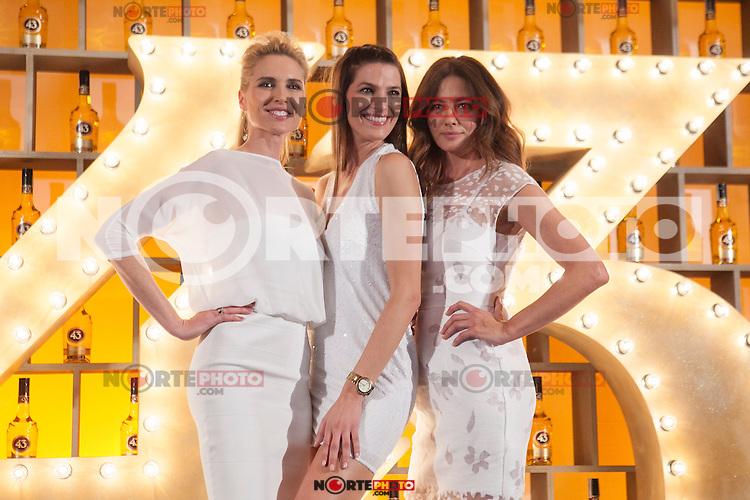 Spanish models (L-R) Judit Masco, Laura Sanchez and Jose Toledo pose during Licor 43 presentation in Madrid, Spain. January 29, 2015. (ALTERPHOTOS/Victor Blanco) /nortephoto.com<br /> nortephoto.com