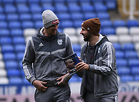 25th January 2020; Madejski Stadium, Reading, Berkshire, England; English FA Cup Football, Reading versus Cardiff City; Callum Paterson shares a joke with Aden Flint of Cardiff City before kick off