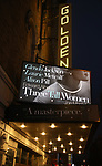 """Theatre Marquee for the Opening Night Curtain Call for """"Three Tall Women"""" starring Alison Pill, Glenda Jackson and Laurie Metcalf at the Golden Theatre on 3/29/2018 in New York City."""