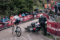Wout Poels (NED/SKY) avoiding a crashed moto in the last hairpin up the infamous Monte Zoncolan (1735m/11%/10km)<br /> <br /> stage 14 San Vito al Tagliamento &ndash; Monte Zoncolan (186 km)<br /> 101th Giro d'Italia 2018