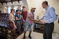 Kenneth Carmona Quintero '19. Jonathan Veitch, President of Occidental College. Incoming first years meet with Occidental College President Jonathan Veitch during Matriculation as part of Orientation, Aug. 24, 2015 at the Samuelson Alumni Center.<br /> (Photo by Marc Campos, Occidental College Photographer)