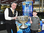 Tosh and Jack Barry with the Sam Maguire cup when it visited Southgate Shopping Centre with St Colmcilles GFC. Photo:Colin Bell/pressphotos.ie