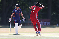 Muhammad Irfan celebrates taking the wicket of Joe Ellis-Grewal during Wanstead and Snaresbrook CC vs Hornchurch CC, Shepherd Neame Essex League Cricket at Overton Drive on 30th June 2018