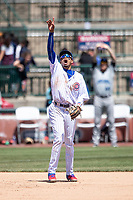 South Bend Cubs third baseman Christopher Morel (29) points to a fly ball against the Lake County Captains on May 30, 2019 at Four Winds Field in South Bend, Indiana. The Captains defeated the Cubs 5-1.  (Andrew Woolley/Four Seam Images)