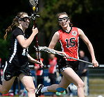 GER - Hannover, Germany, May 30: During the Women Lacrosse Playoffs 2015 match between DHC Hannover (black) and SC Frankfurt 1880 (red) on May 30, 2015 at Deutscher Hockey-Club Hannover e.V. in Hannover, Germany. Final score 23:3. (Photo by Dirk Markgraf / www.265-images.com) *** Local caption *** Jule Neubauer #15 of DHC Hannover, Hanna Kolass #16 of SC 1880 Frankfurt