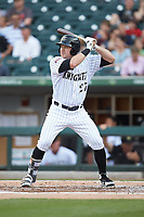 Mason Robbins (27) of the Charlotte Knights at bat against the Indianapolis Indians at BB&T BallPark on May 26, 2018 in Charlotte, North Carolina. The Indians defeated the Knights 6-2.  (Brian Westerholt/Four Seam Images)