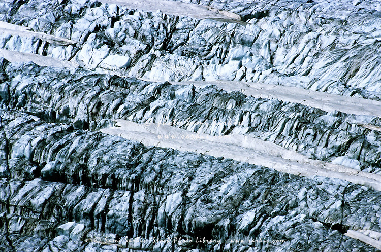 Natural pattern of the glacial landscape of La Girose, Les Glaciers De La Meije, French Alps, France.