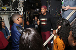 """Host Bryan Terrell Clark with High School student performers during The Rockefeller Foundation and The Gilder Lehrman Institute of American History sponsored High School student #EduHam matinee performance of """"Hamilton"""" at the Richard Rodgers Theatre on October 24, 2018 in New York City."""