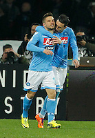 Dries Mertens  and  Jose Callejon   celebrates   during the Italian Serie A soccer match between SSC Napoli and Juventus FC   at San Paolo stadium in Naples, March 30 , 2014