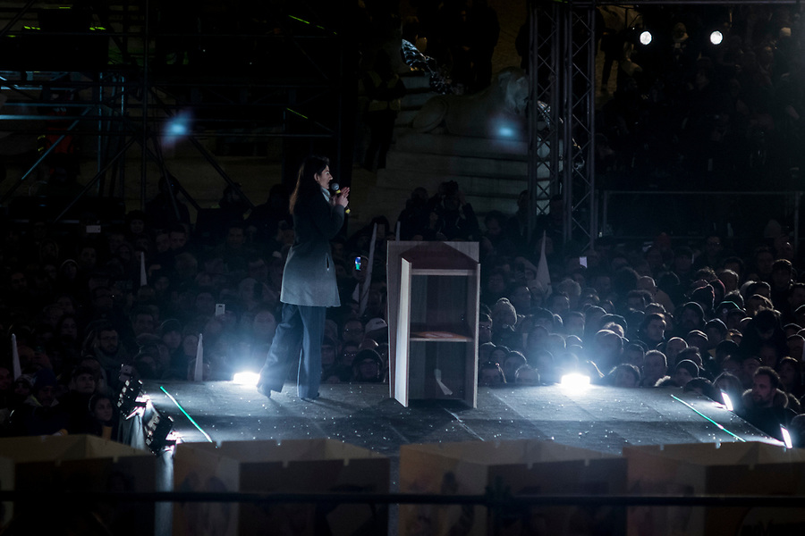 Rome mayor Virginia Raggi speaking in Piazza del Popolo in Rome during the Five Star Movements final rally on March 2nd 2018.