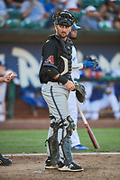 Zachery Almond (9) of the Missoula Osprey on defense against the Ogden Raptors at Lindquist Field on July 12, 2018 in Ogden, Utah. Missoula defeated Ogden 11-4. (Stephen Smith/Four Seam Images)